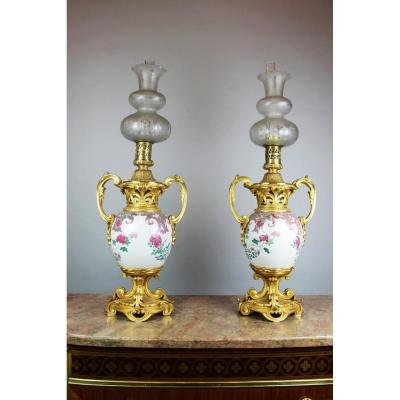Pair Of Oil Lamps, Samson Porcelain And Ormolu