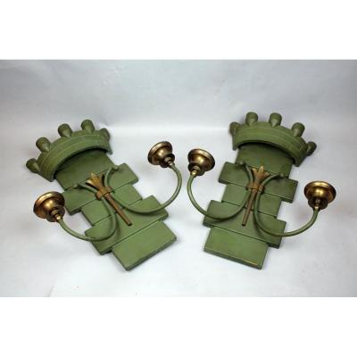 Pair Of Cast Iron Sconces, 1940s