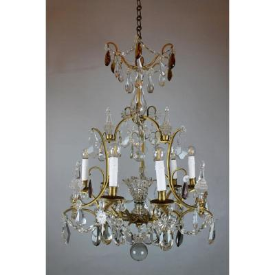 Chandelier With Tassels And Daggers In Gilt Bronze
