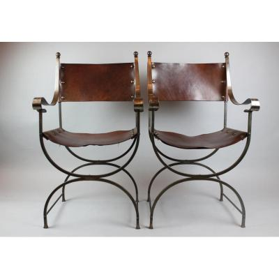 Pair Of Metal And Leather Armchairs