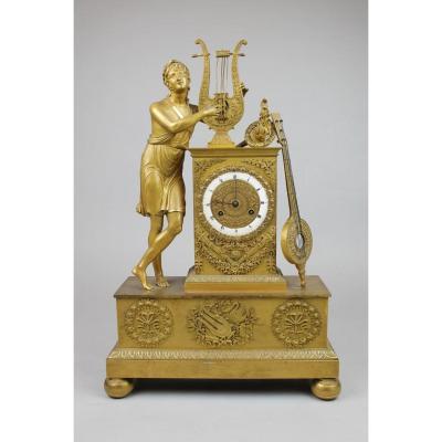 Pendule Charles X En Bronze Doré