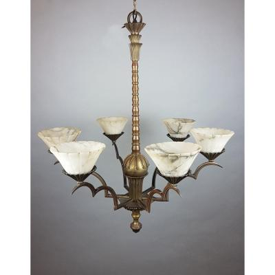 Bronze And Alabaster Chandelier Around 1920