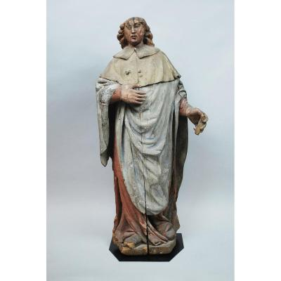 Saint En Bois Sculpté Polychromé, 16th