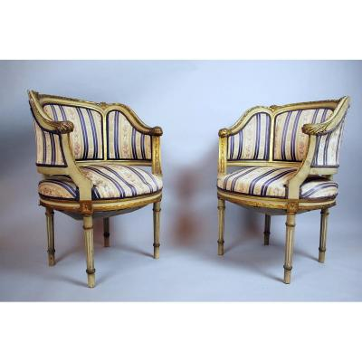 Pair Of Transition Style Armchairs