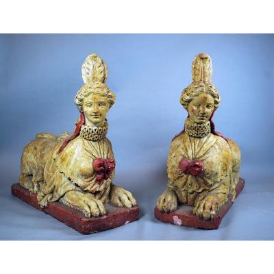 Pair Of Sphinges In Terracotta