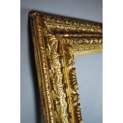 Large Frame In Wood And Golden Stucco, 19th