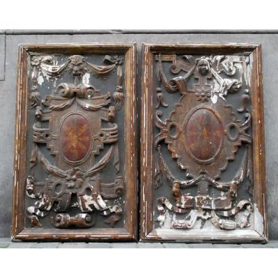 Pair Of Carved Wood Panels, Late 17th Century - Early 18th Century