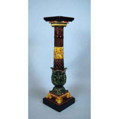 Sarreguemines Faience Column
