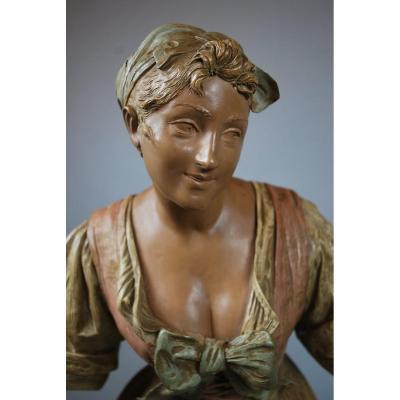 Porteuse d'Eau, Sculpture En Terre Cuite Par Ernst Hegenbarth
