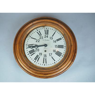 Medallion Shaped Wall Clock In Patinated Oak, Late 19th