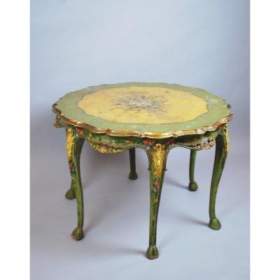 Table Vénitienne De Style Louis XV En Bois Peint