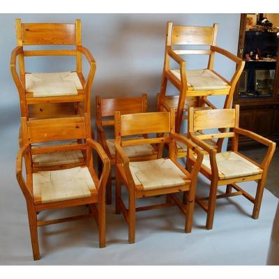 Suite Of 8 Armchairs - Swiss Model - 1970s