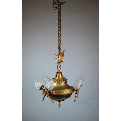 Lustre Empire à 6 Lumières En Bronze Doré Et Tôle