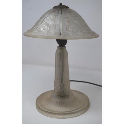 Lampe Hettier Vincent - Verre Pressé - Art Deco