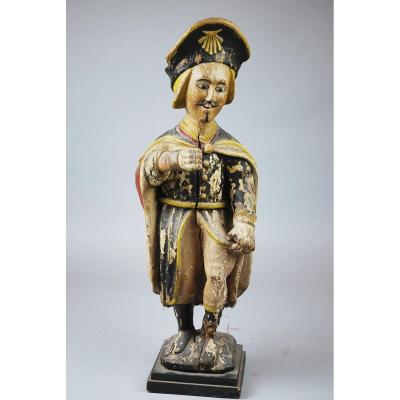 Saint Roch En Bois Sculpté Polychrome, 18th