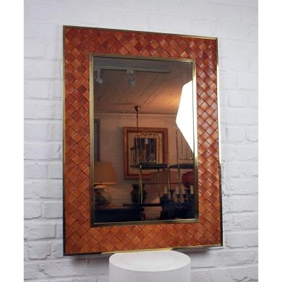 Leather And Brass Mirror