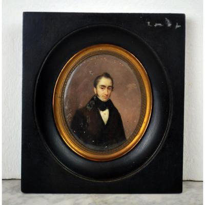 Portrait Miniature De Léonard Chevalier De Selliers De Moranville