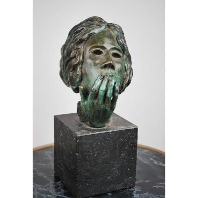 Sculpture En Bronze Et Socle En Marbre