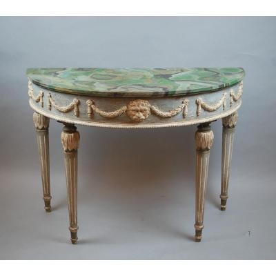 Pair Of Louis XVI Style Console In Patinated Wood
