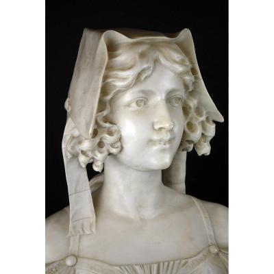 Buste De Jeune Femme En Marbre Finement Sculpté, 19th