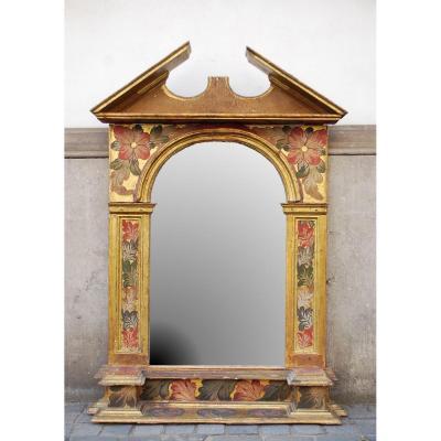 Miroir En Bois Peint Et Doré, XIXème