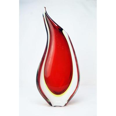 Vase  Sommerso Rouge Par Flavio Poli Pour Seguso Vetri d'Arte