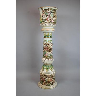 Capodimonte, Planter And Its Column In Polychrome Earthenware