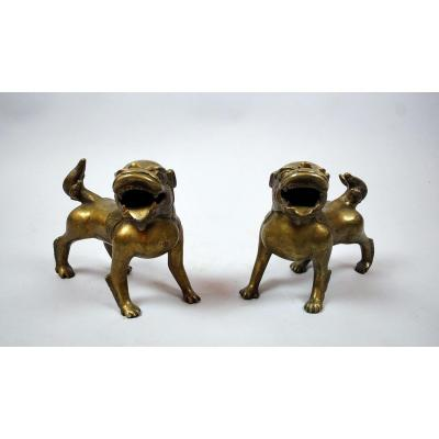 Paire De Chiens En Bronze