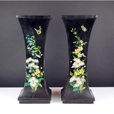 Paire De Vases En Papier Mâché, 19th