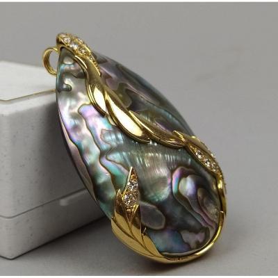 Pendentif En Nacre Abalone, Or 18 Carats Et Diamants