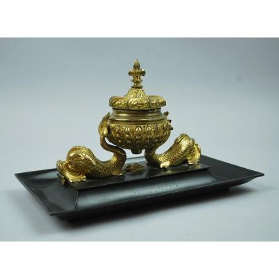 Inkwell In Gilt Bronze And Black Patina, 19th