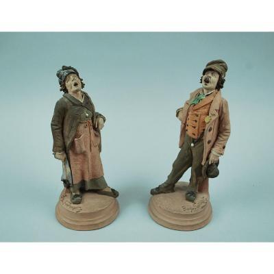 Pair Of Polychrome Terracotta Statuettes By Eugène Ladreyt