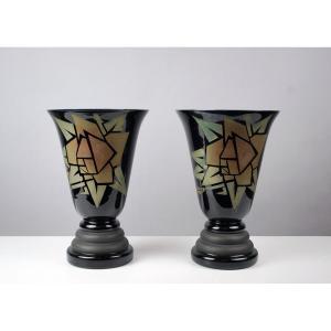 Doyen, Verrerie Du Centre, Belgique, Paire De Vases Art Déco