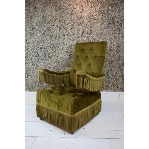 Green Velvet Armchair, 1900