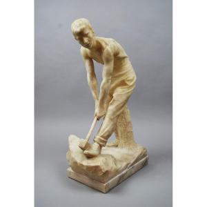 Alabaster Sculpture, Signed Pugi