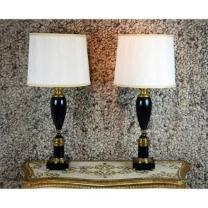 Pair Of Lacquered Black Lamps