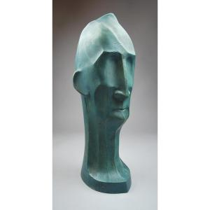 Patinated Plaster Head, Art Deco