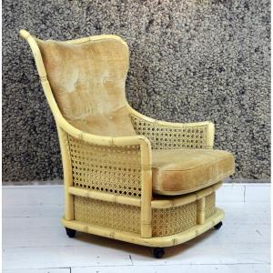Rattan And Velvet Armchair
