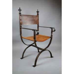 Louis XIV Style Armchair In Wrought Iron, Around 1940