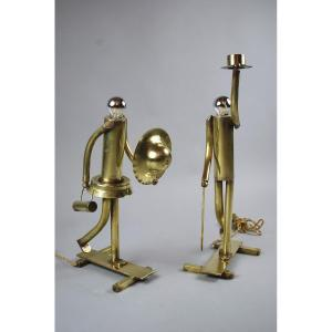 Pair Of Copper And Brass Lamps, Dated 1925