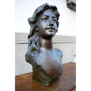 Jef Lambeaux, Buste De Femme En Bronze