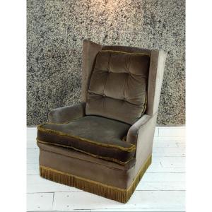 Brown Velvet Armchair With Wings