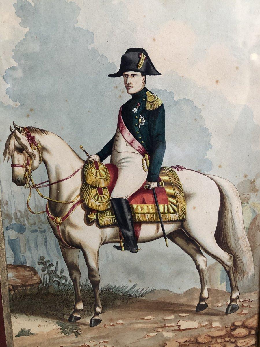 """the Emperor Napoleon 1 Er On Horseback"" Watercolor XIX"