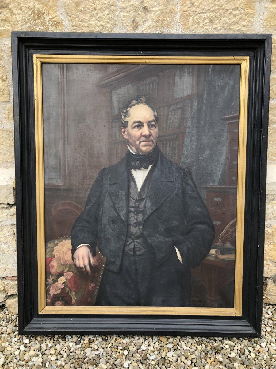 Important Portrait D' Un Notable Daté 1877 A.j - Alizard