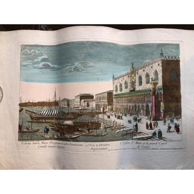 Vue D'optique XVIII ème  L'eglise St Marc Et Le Grand Canal De Venise