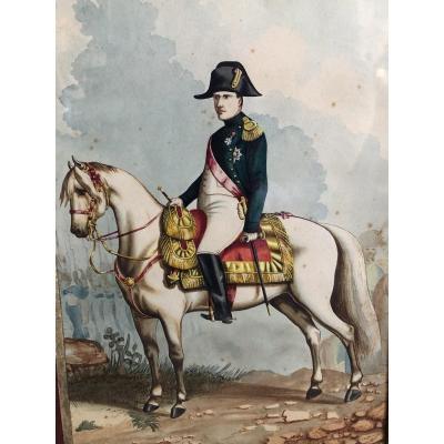 « L'empereur Napoléon 1 Er à Cheval « Aquarelle XIX ème