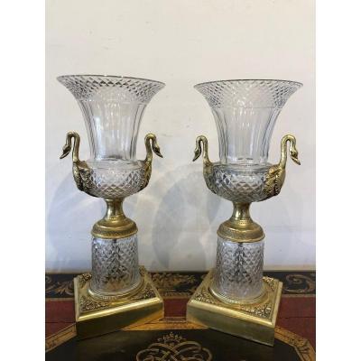 Paire De Vases Médicis Cristal Taillé Et Bronze Doré XIX ème