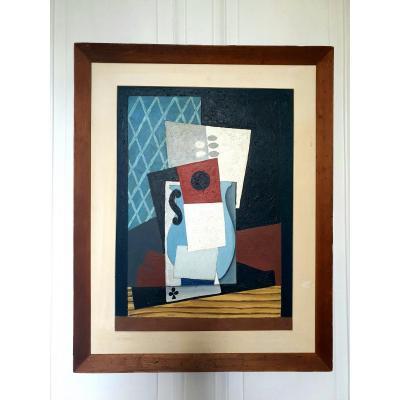 Huile Cubiste Composition Au Vase Et Cartes