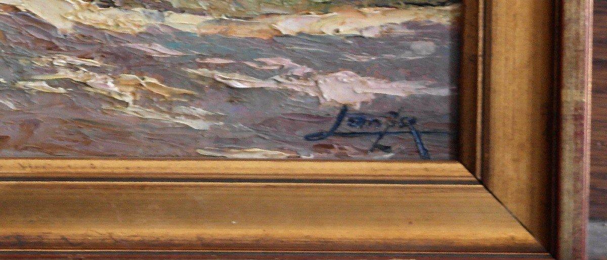 Tableau De Luigi Lanza. Huile Sur Carton Signée En Bas à Droite.-photo-2