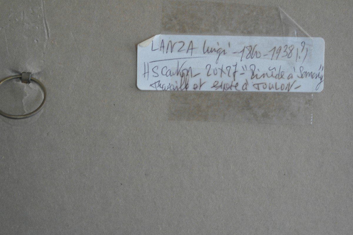 Tableau De Luigi Lanza. Huile Sur Carton Signée En Bas à Droite.-photo-4
